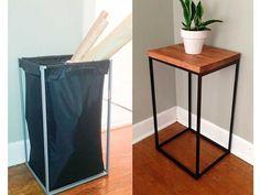 Un cesto de ropa para lavar convertido en una mesa auxiliar