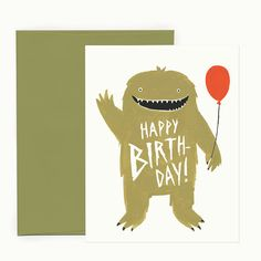 FREE SHIPPING on single cards!    This happy green monster sends birthday love! Paired with a matching olive-green envelope.     • Heavy, matte