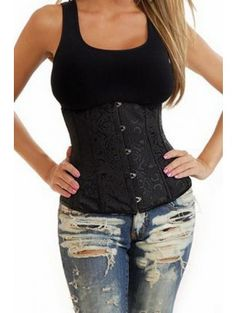 Dark Night Underbust Corset by Hourglass Angel 2686 29.99$ RESULTS:        Smoothed midsection,      Light slimming,      Bust support,      Overall more shapely silhouette,    FEATURES:        Underbust corset set,      Satin construction,      Brocade design,      Busk closure,      Light flexiboning,      Ribbon lacing back,      Matching thong    *Materials: Polyester 90%, Spandex 10%