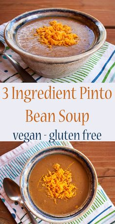 3 Ingredient Pinto Bean Soup (vegan, gluten free) - This recipe for Pinto Bean Soup is perfect for a road trip or if you want a quick meal. Make it mild or spicy depending upon the salsa you use. (Quick 3 Ingredients)