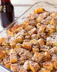 Overnight French Toast Bake recipe with brown sugar and cinnamon! Fantastic for Christmas or Easter. anytime you want / need a make ahead breakfast dish. Also works for brunch, dessert (add ice cream) or as a sweet side to a breakfast buffet. Breakfast Desayunos, Breakfast Dishes, Breakfast Recipes, Yummy Breakfast Ideas, Breakfast Parties, Breakfast Crockpot, Breakfast For A Crowd, Pancake Recipes, Homemade Breakfast