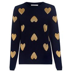 Chinti And Parker - Metallic Heart Cashmere Blend Sweater ($395) ❤ liked on Polyvore featuring tops, sweaters, sweetheart neck top, cashmere-blend sweater, chinti and parker, chinti and parker sweater and heart sweaters