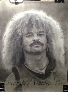 """Carlos """"El Pibe"""" Life Size. Charcoal and White Chock on toned paper. 16"""" x 20"""""""