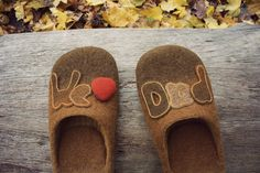 """We Love Dad"""" Brown wool felted slippers Ready to Ship. $126.00, via Etsy."""