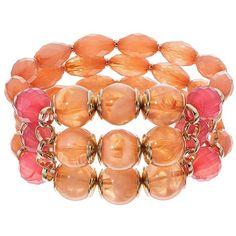 Pink Beaded Multi Strand Stretch Bracelet ($11) ❤ liked on Polyvore featuring jewelry, bracelets, ovrfl oth, beaded jewelry, colorful bangles, multi colored jewelry, stretch jewelry and colorful jewelry