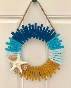 Your place to buy and sell all things handmade, Beach Themed Clothespin Wreath Beach Themed Crafts, Beach Crafts, Summer Crafts, Fun Crafts, Diy And Crafts, Crafts For Kids, Paper Crafts, Mason Jar Crafts, Mason Jar Diy