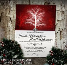 Winter Wonderland Wedding Invitation in red showcases an elegant yet rust style and is a great choice for winter weddings.