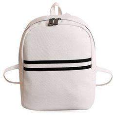 Contrast Stripe PU Leather Backpack White