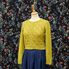 """""""Balada"""" means slow music in Portuguese and the name is perfect for this cropped, lacy and vintage-inspired cardigan. Mustard Cushions, Ravelry, Pattern Library, Cardigan Pattern, Stockinette, Drops Design, Vintage Inspired, Bell Sleeve Top, High Neck Dress"""