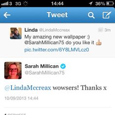 Wooo. The time sarah millican tweeted me back on twitter :))
