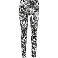 Boohoo Brooke Monochrome Marble Print Leggings ($14) ❤ liked on Polyvore featuring pants, leggings, stretchy leggings, stretch pants, print pants, patterned pants and white trousers