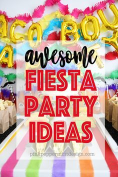 Taco Bout A Party : These Fiesta theme party ideas will have you breaking out the sombreros and fiesta party theme decorations to host your own colorful party! Delicious recipes for fiesta cake, mango salsa, guacamole and more, along with super cute fiesta theme party Mexican decorations and more! #fiestaparty #fiestathemeparty #fiestabirthdayparty #PinkPeppermintDesign