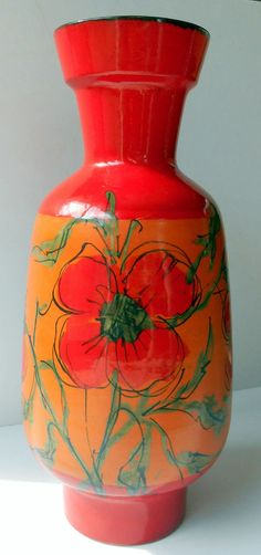 "RAYMOR ITALY VASE Red, Orange, Floral Alvino BAGNI  16""H Mid Century Modern EUC!"