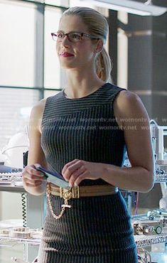 Felicity's pinstriped dress on Arrow.  Outfit Details: http://wornontv.net/53127/ #Arrow