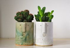 Little succulent or cacti pot in matt green by AtelierStellaLondon, £20.00