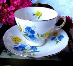 Queen Anne Blue Morning Glory Teacup and Saucer Blue and Yellow Tea Cup Set 8290 #QueenAnne #teacupandsaucer #bluemorningglory #morninggloryteacupset #blueandyellowteacupset