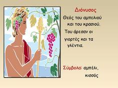 Διόνυσος   Θεός του αμπελιού   και του κρασιού.   Του άρεσαν οι   γιορτές και τα   γλέντια.   Σύμβολα: αμπέλι,   κισσός