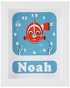 Stripey Cats Personalised Clive Clownfish Framed Clock, 23 x 18cm