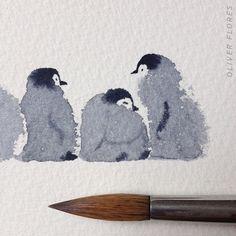 Penguin Watercolor, Watercolor Animals, Painting & Drawing, Watercolor Paintings, Watercolors, Watercolor Ideas, Watercolor Water, Watercolor Artists, Watercolor Drawing