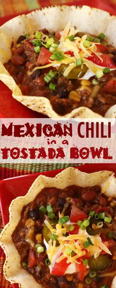 Mexican Chili in a Tostada Bowl.. Why have I never thought of this? Tostada bowls aren't just for salads anymore!  Find all our yummy pins at https://www.pinterest.com/favfamilyrecipz/
