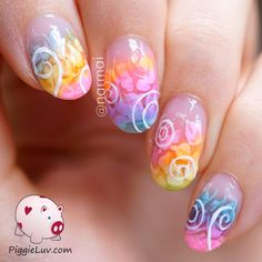 Chaotic nails like these always make me feel a bit panicky... I like having complete control over my nail art designs. Yup, I'm a control freak! But they're sweet & colorful so I'm sharing them with you anyways :) This is pretty easy to do, video tutorial is included on the blog!