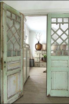 Build your own french style doors with old windows and wood.