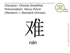 nan in simplified characters ( 难 ) with pronunciation in Mandarin Chinese