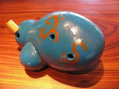 Handmade Pre Columbian Type Blue Gourd Ocarina by Martin Espino New in Box !