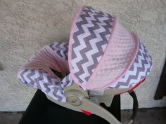 Gray Chevron with Light Pink Pink Infant Car Seat by sewcuteinaz, $65.00  I want this but different colors.