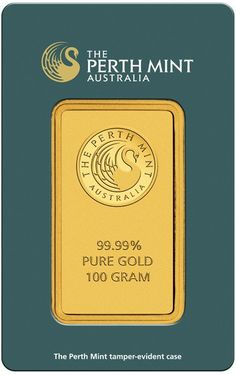 NEW Perth Mint 100g Gold Bar. Each bar weighs 100 Grams and are 999.9 Fine Gold. Each Gold bar comes packed in an assay card certifying the weight and Gold metal purity. These coins are minted and supplied by The Perth Mint.