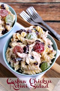 Amazing Cashew Chicken Rotini Salad. You can't go wrong with this delicious salad!