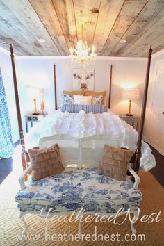 Beautiful #bedroom! The ceiling is very interesting too, gives the room a #rustic feel. #bedroomdesign   #decor