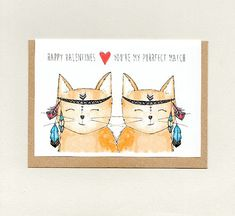HAPPY VALENTINES.. you're my PURRFECT match . greeting card . cat cats . love note valentine . wife husband girlfriend boyfriend . australia