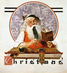 """The account book of Santa Claus. Cover of """"The Saturday Evening Post"""" Dec is one of artworks by Norman Rockwell. Artwork analysis, large resolution images, user comments, interesting facts and much more. Peintures Norman Rockwell, Norman Rockwell Art, Norman Rockwell Paintings, Harlem Renaissance, Noel Christmas, Christmas Pictures, Xmas, Illustrations, Illustration Art"""