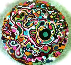 """How to make a mat/rug. A 36"""" Diameter Freeform Crochet Rug - Step 1"""