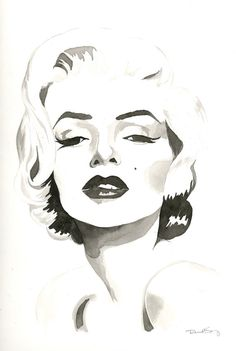 Marilyn Monroe Watercolor Contemporary Painting by SpryStudios