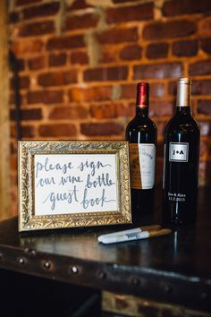 Unique wine guestbook idea - ask guests to sign a wine bottle in lieu of a traditional guestbook {Cameron Reynolds Photography}