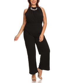 This Black High-Neck Jumpsuit - Plus is perfect! #zulilyfinds