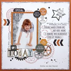 Kaisercraft's Scrap Yard collection I-Trouble-maker Scrapbook Sketches, Scrapbook Page Layouts, Scrapbook Pages, Baby Boy Scrapbook, Travel Scrapbook, Layout Inspiration, Creative Inspiration, Mixed Media Scrapbooking, Scrapbooking Ideas