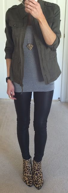 Express Military Jacket, Grey Tank, Black Faux Leather Leggings, Leopard Booties