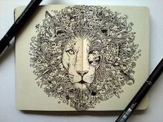 This looks like it may have been done by the same person who did that great Game of Thrones doodle. Lion of Lannister, maybe?