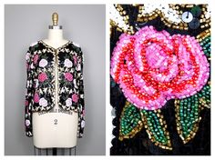 Vintage Beaded Roses Evening Jacket / Bright Pink and White Floral Sequined Blazer by braxae on Etsy