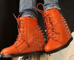 Jeffrey Campbell leather nail wedge sports shoes inside heighten female  boots rivet short boots  50.00 296a31df14