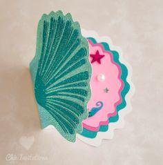 Mermaid Invitations Shell Little Mermaid por ChicInvitationsByCA