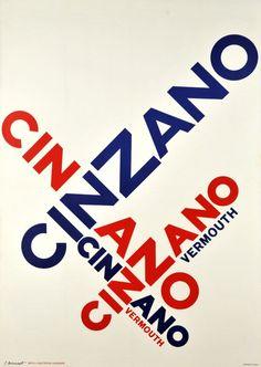 Cinzano, Vermouth Cinzano Vermouth, grande et magnifique affiche typographique suisse par Pierre Monnerat (1917-2005), graveur, illustrateur et professeur à l'Ecole d'art appliqué de Lausanne.