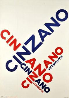 By Pierre Monnerat, 1 9 6 1, Cinzano, Vermouth. (Swiss Typographic poster)