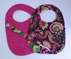 Toddler Bib Binkie Holder Gift Set Maroon\ Pink by KthysKreations