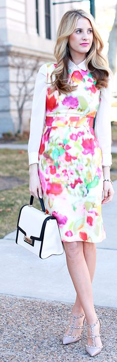 Kate Spade Floral Dress by Ivory Lane - love the sheath dress over the button down!