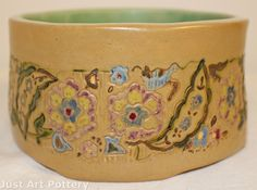 University of North Dakota Pottery 1953 Colorful Floral Bowl (Winge) from Just Art Pottery