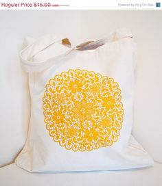 SALE Screen printed tote bag  metallic gold doily   by CThandmade, $13.65